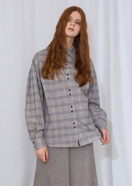 PUFF SLEEVE CHECK BLOUSE_GR