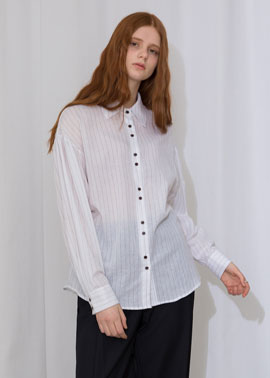 PUFF SLEEVE STRIPE BLOUSE_IV
