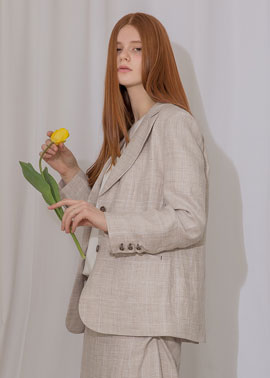 CHECK LINEN JACKET_IV