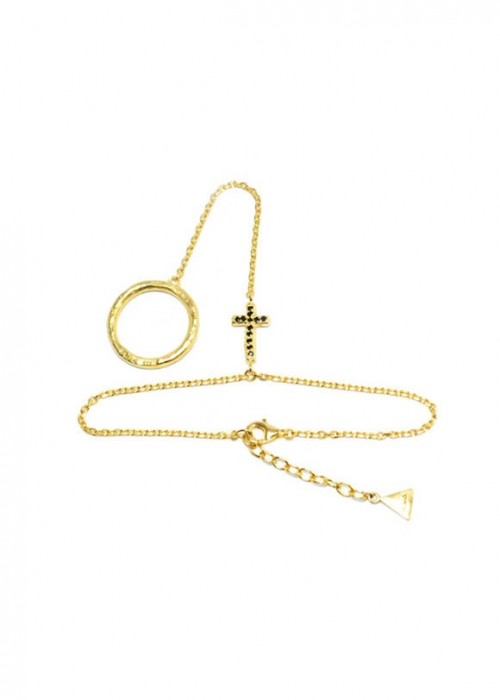 Cross Ring And Chain Bracelet - gold [씨스타 효린 착용]