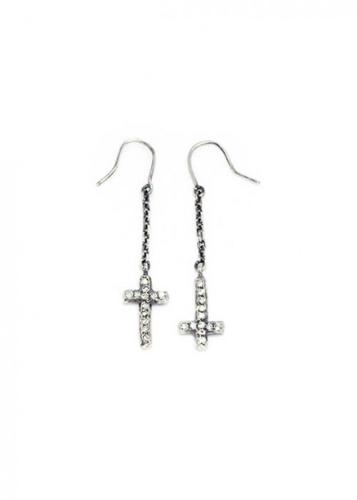 Mini Cross Chain Earring - silver [한끼줍쇼 이효리 착용]