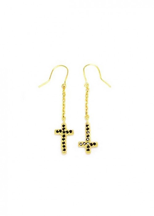 Mini Cross Chain Earring - gold[박해미 착용]