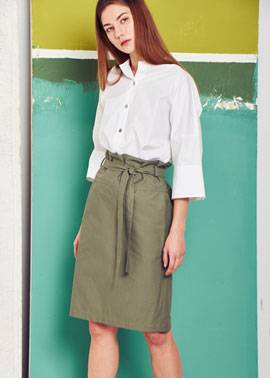 High Wast Banding Skirt [Beige/Khaki]