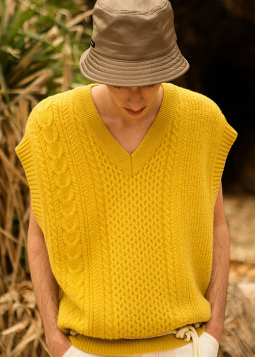 UNISEX BRUSHED AIR WOOL SWEATER VEST atb282u_YELLOW