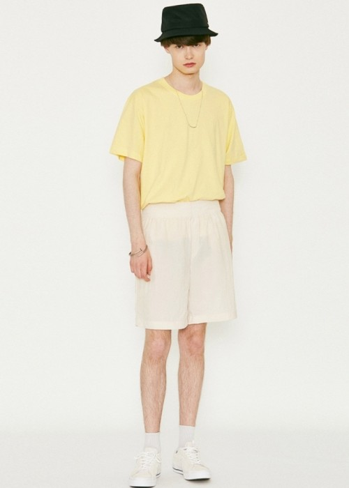 V272 BASIC NYLON WIDE HALF-PANTS_CREAM