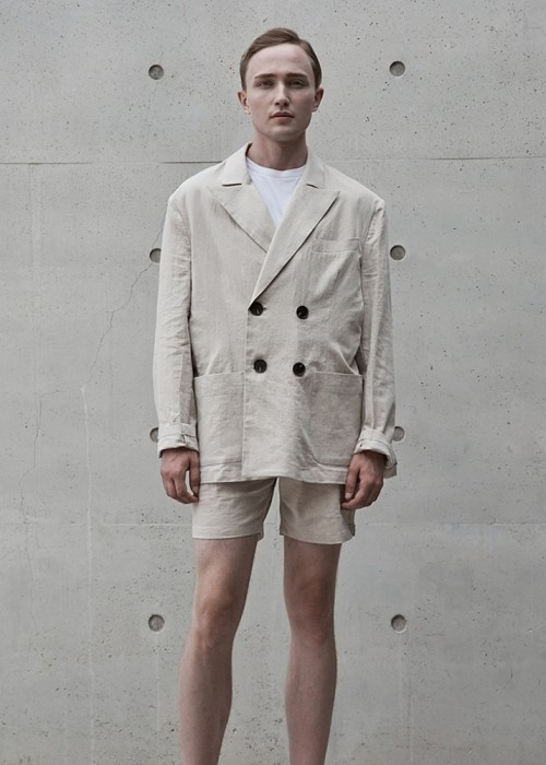 2019 SUMMER SET-UP#6 PEAK LAPEL LINEN DOULBE SET-UP - BEIGE