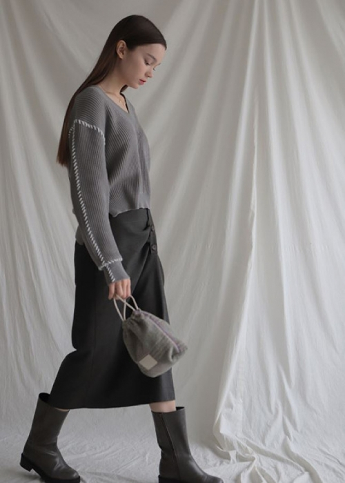button shirring wool skirt
